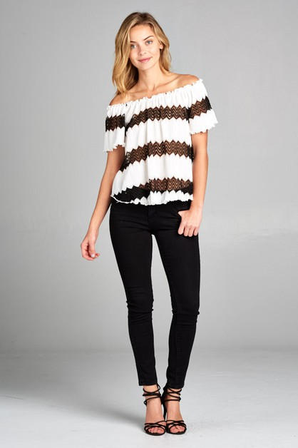 CRINKLE AND LACE STRIPE TOP - orangeshine.com