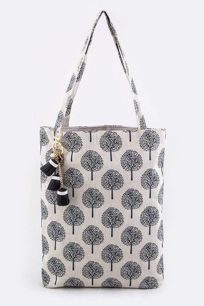 Tree Pattern Canvas Tote - orangeshine.com