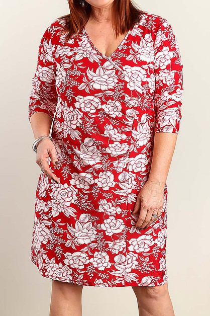 FLORAL SURPLICE  PLUS SIZE DRESS  - orangeshine.com