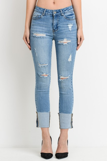 Destroyed Cuffed Jeans - orangeshine.com