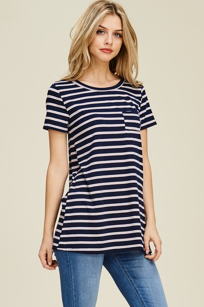 STRIPED SHORT SLEEVE TOP WITH POCKET - orangeshine.com