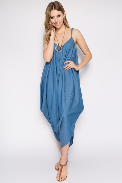 BAGGY CHAMBRAY JUMPSUIT - orangeshine.com