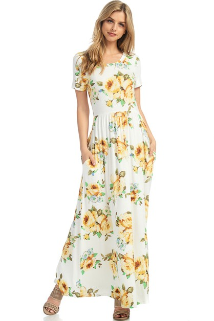 FLORAL A LINE MAXI DRESS - orangeshine.com
