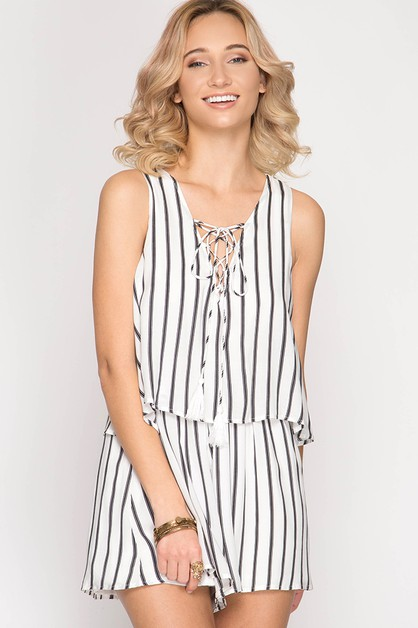 SL4908R-  STRIPED LAYERED ROMPER - orangeshine.com