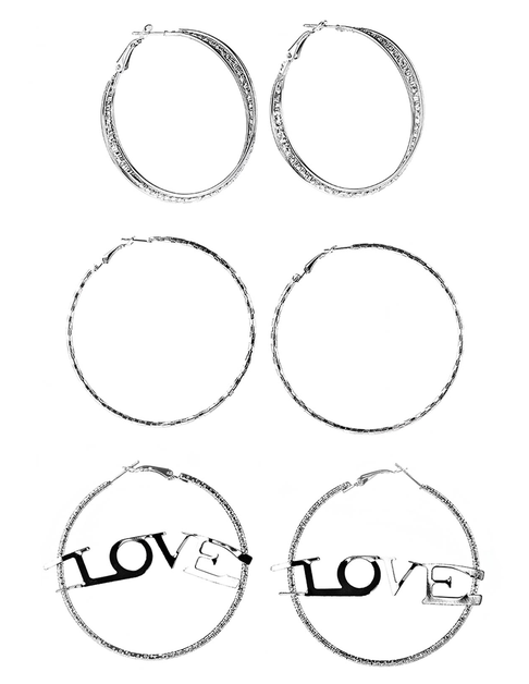 Love Hoop Earrings-Set of 3 - orangeshine.com