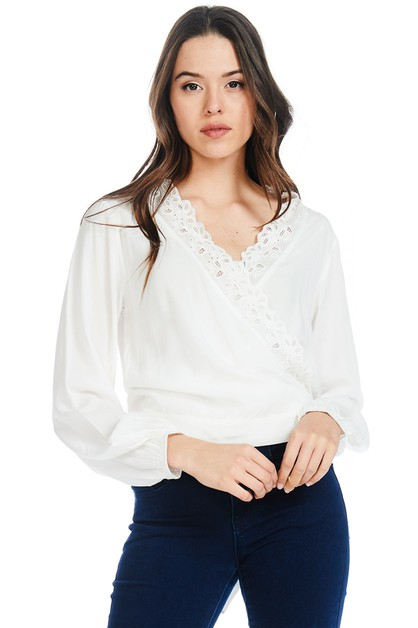 SURPLICE LONG SLEEVE BLOUSE - orangeshine.com