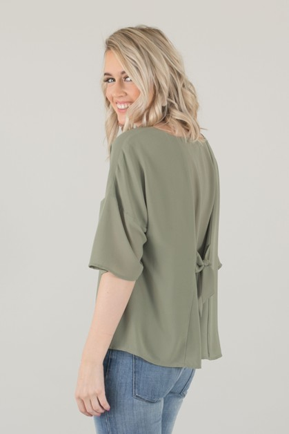 Bow Back Chiffon Top - Sage - orangeshine.com