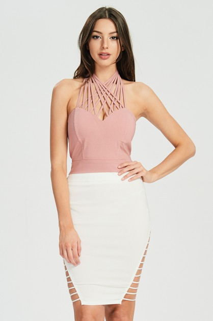 CROSSED HALTER CROP TOP - orangeshine.com