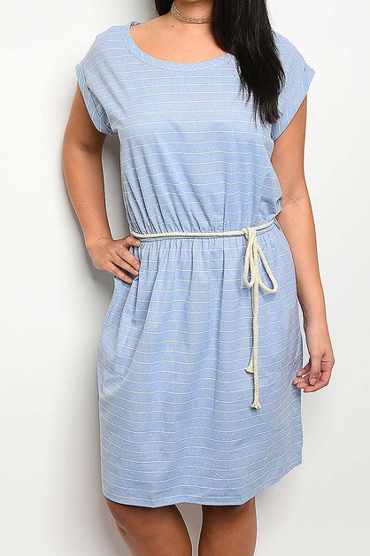 BOAT NECK WAIST TIE W POCKET DRESS  - orangeshine.com
