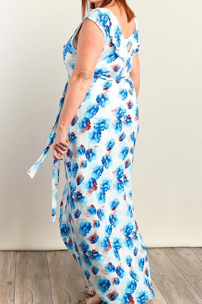 FLORAL PRINT PLUS SIZE MAXI DRESS - orangeshine.com
