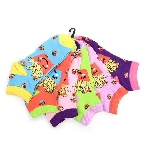 6 Pair Women Happy French Fries Sock - orangeshine.com