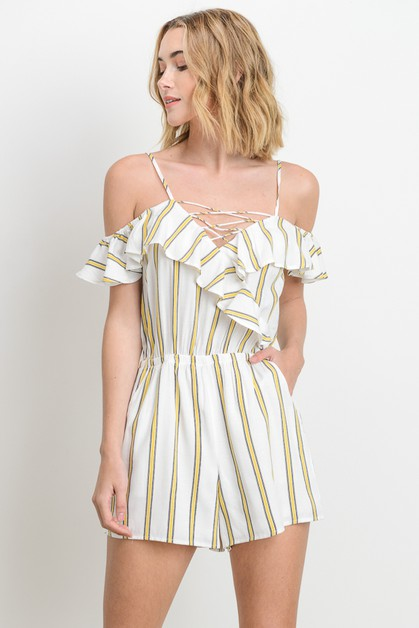 Striped Off Shoulder Romper - orangeshine.com