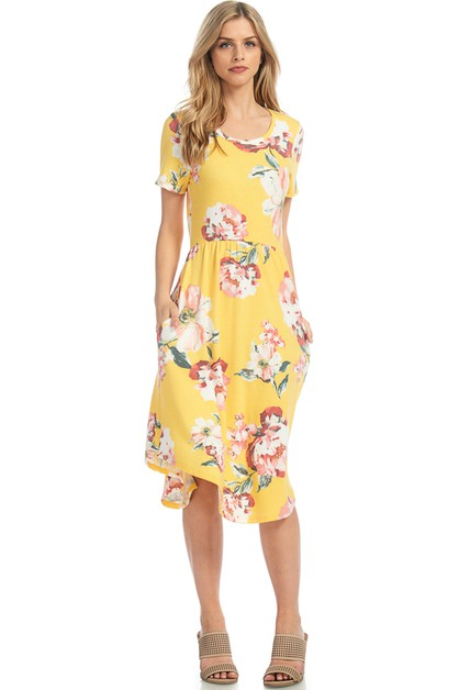 FLORAL A LINE MIDI DRESS - orangeshine.com