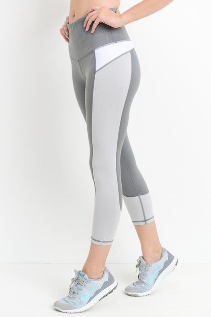 HIGHWAIST COLOR BLOCK CAPRI LEGGINGS - orangeshine.com