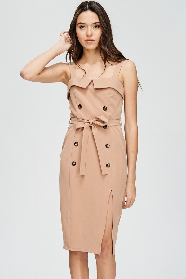 Button Detail Midi Dress - orangeshine.com