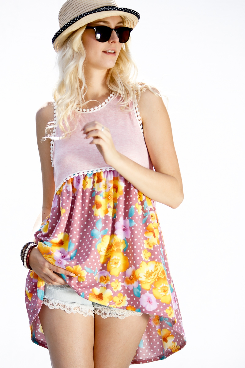 Sleeveless floral print and polka do - orangeshine.com