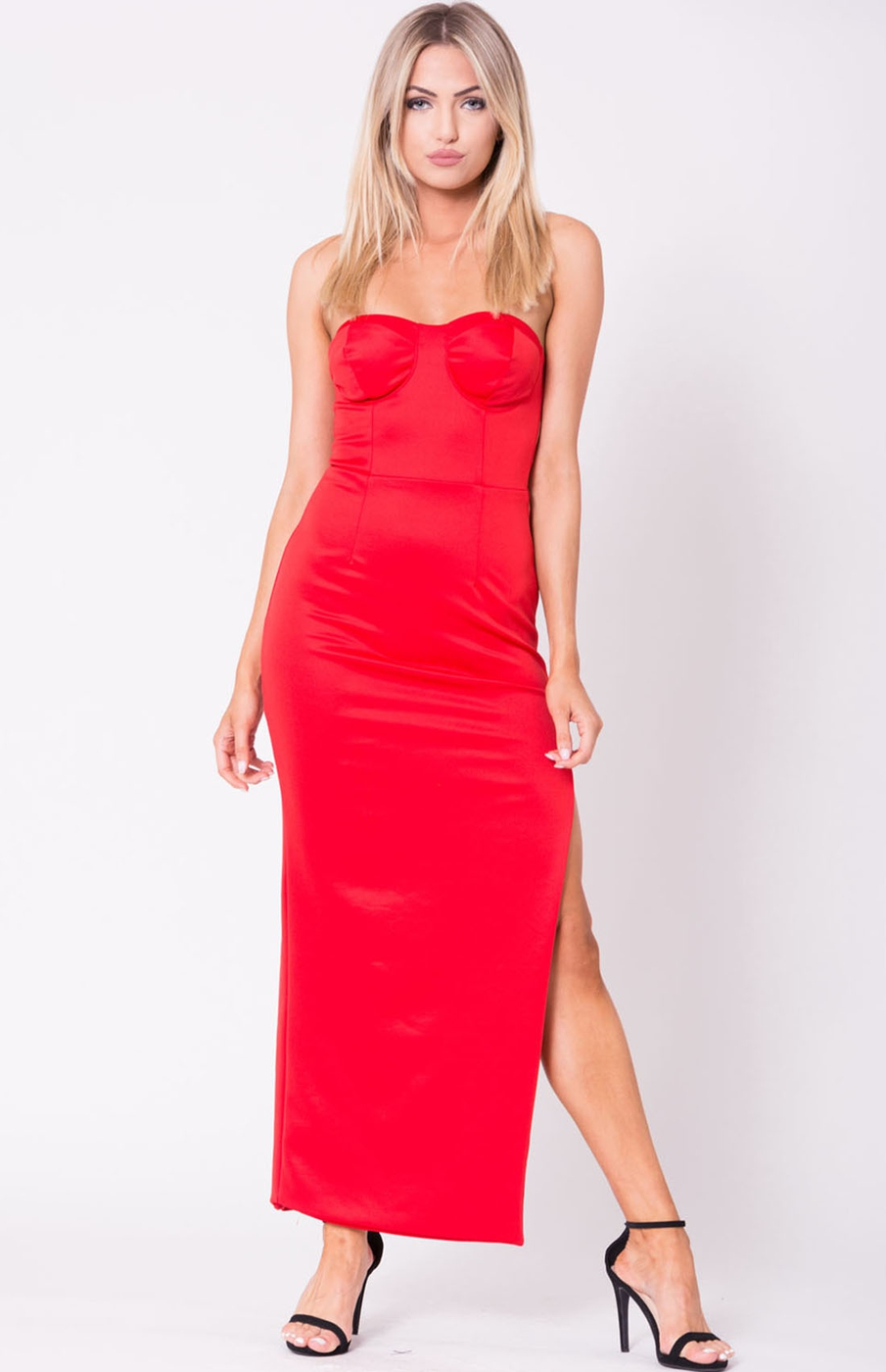 STRAPLESS SOLID MAXI DRESS - orangeshine.com