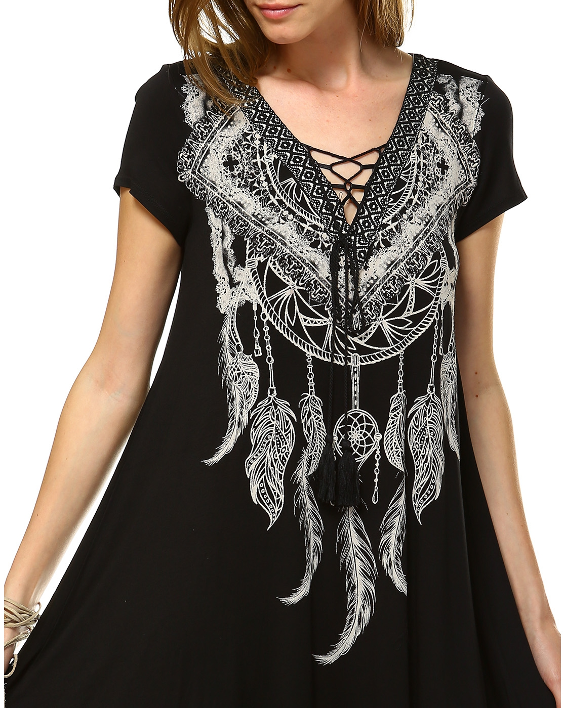 Dreamcatcher Feather Lace Up dress - orangeshine.com