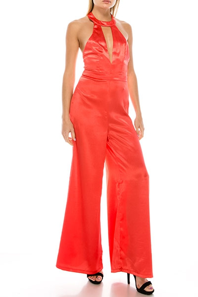 HALTER TIE BACK WIDE PANTS JUMPSUIT - orangeshine.com