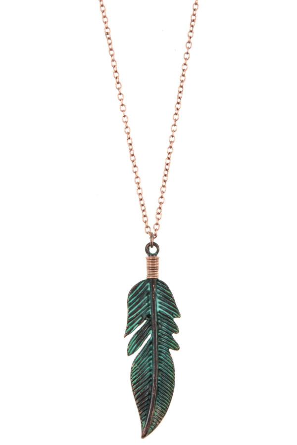 ELONGATED ETCHED LEAF PENDANT NECKLA - orangeshine.com