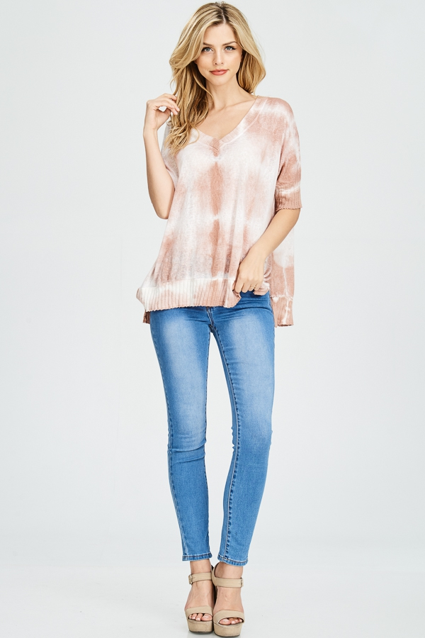 Tie dyed V-neck knit top - orangeshine.com
