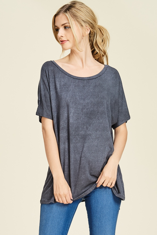 LOOSE FIT SHORT SLEEVE CASUAL TUNIC  - orangeshine.com