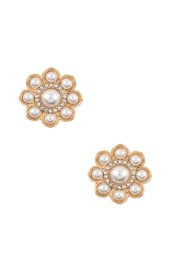 PEARL FLOWER POST EARRING  - orangeshine.com
