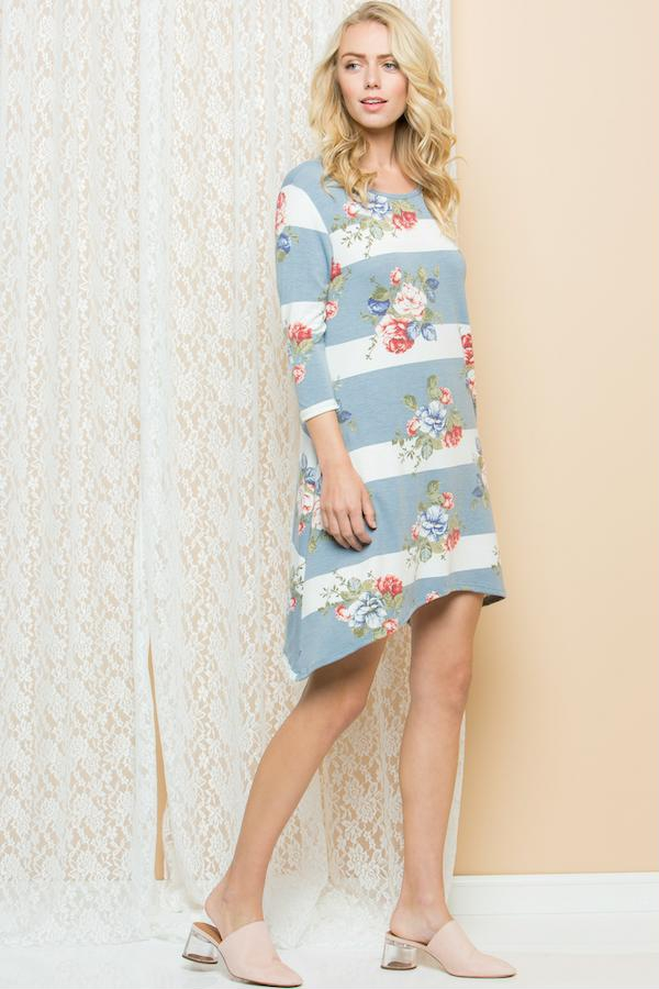 Print Side Tail Tunic Dress Plus - orangeshine.com