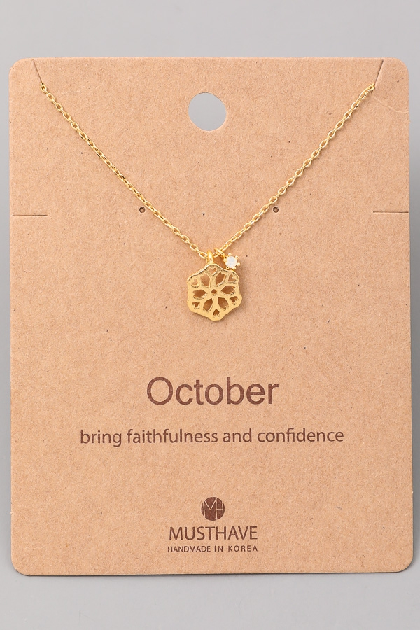 October Birthstone Charm Necklace - orangeshine.com