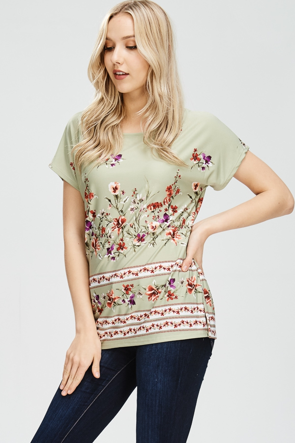 SHORT SLEEVE FLORAL CREW NECK TOP - orangeshine.com