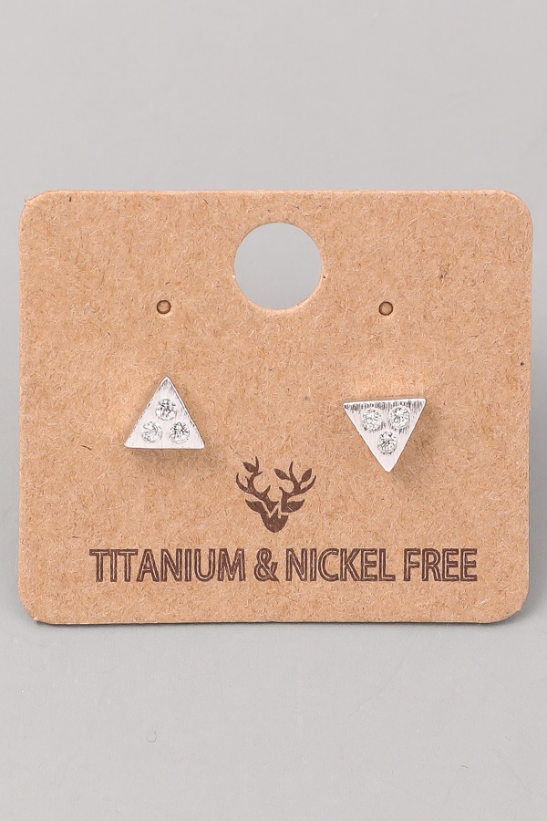 Frosted Triangle Stud Earrings - orangeshine.com