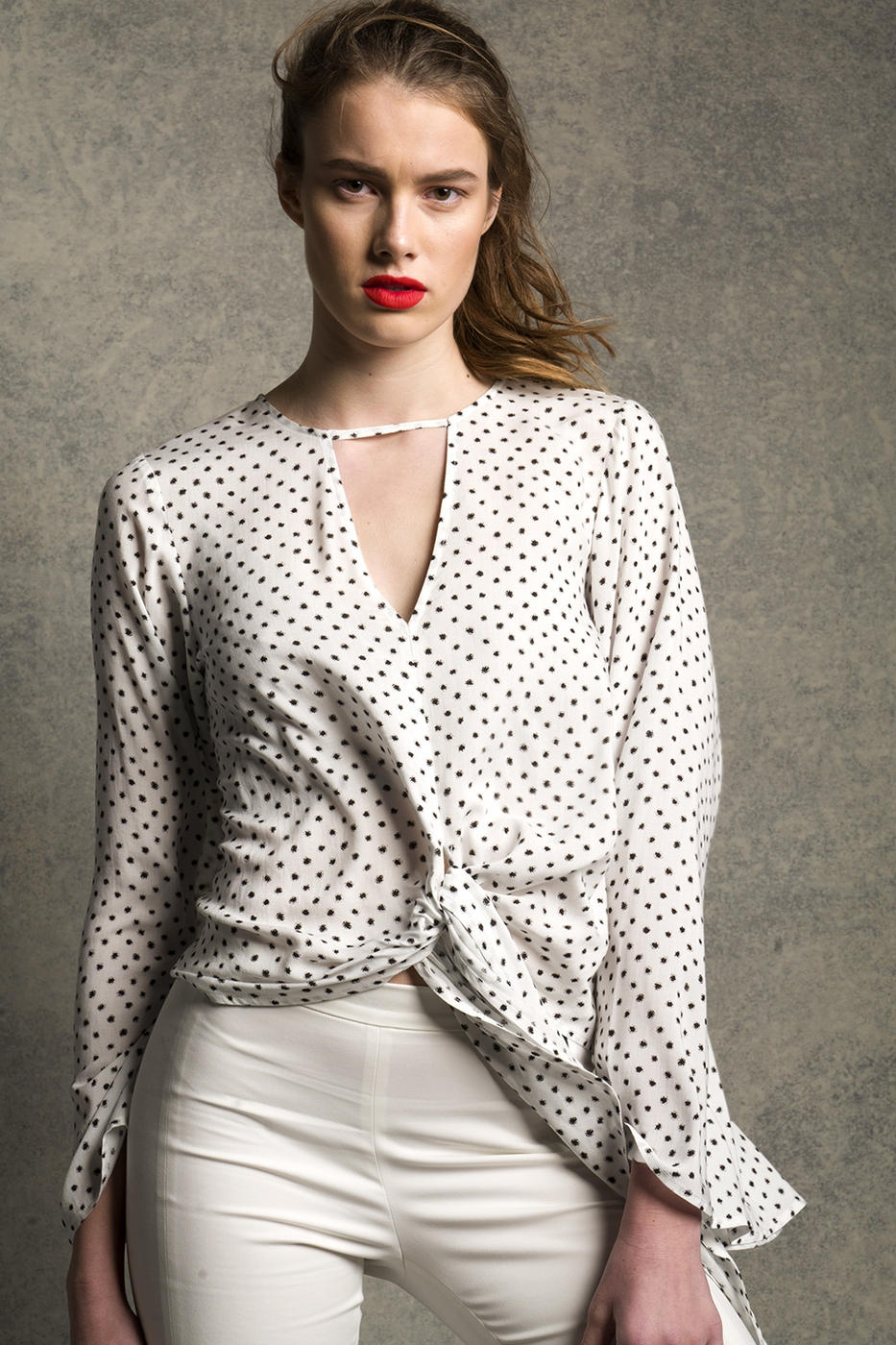 Ivory Polka dot Top - orangeshine.com