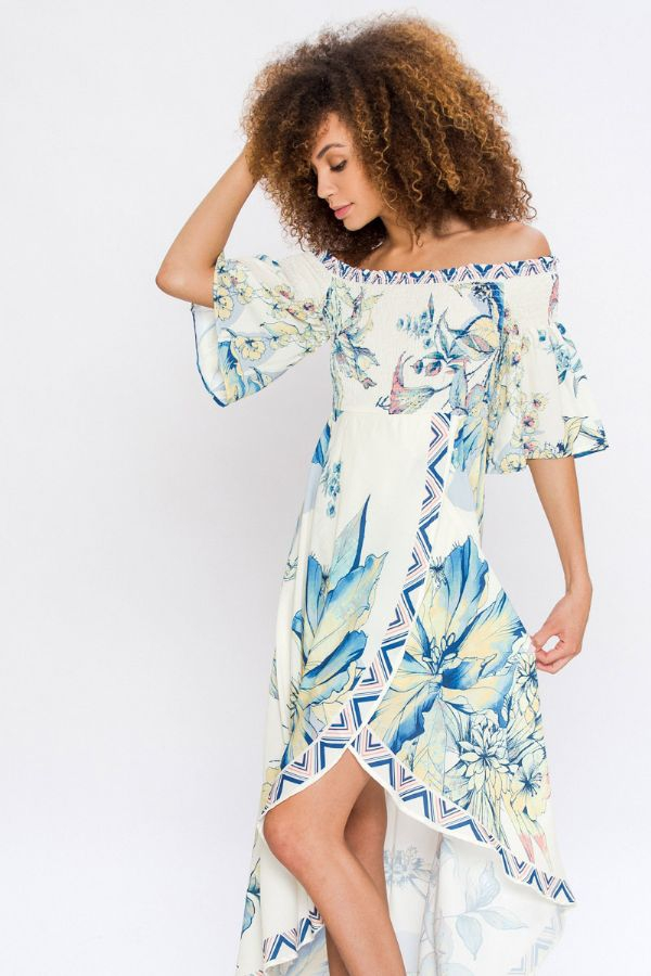 OFF THE SHOULDER FLORAL WRAP DRESS  - orangeshine.com
