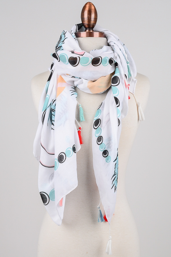 Mixed Print Tassel Trim Scarf - orangeshine.com