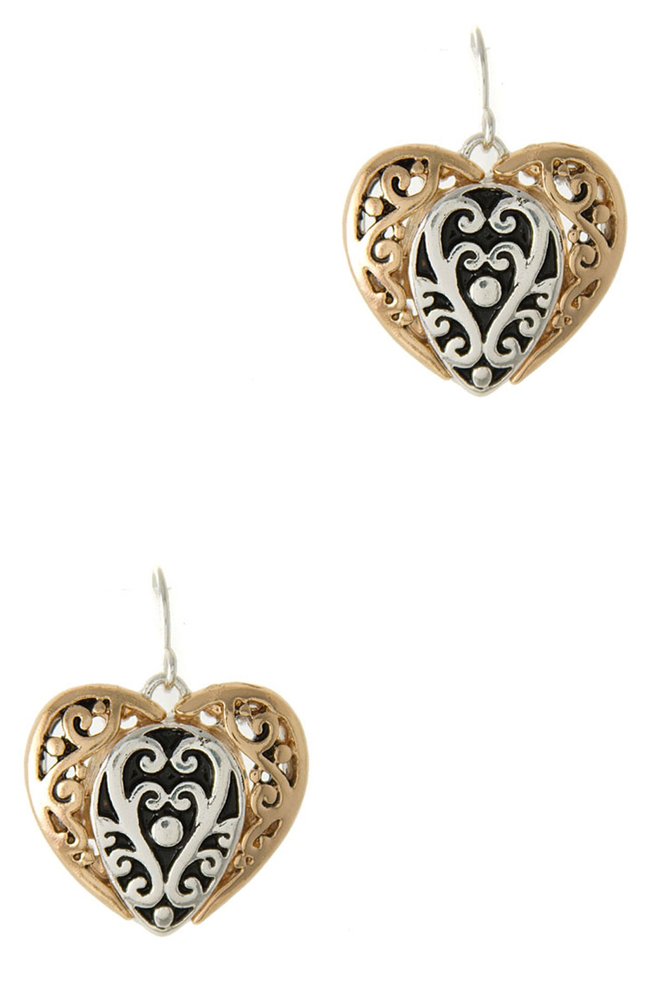 FILIGREE TEXTURE HEART EARRING - orangeshine.com