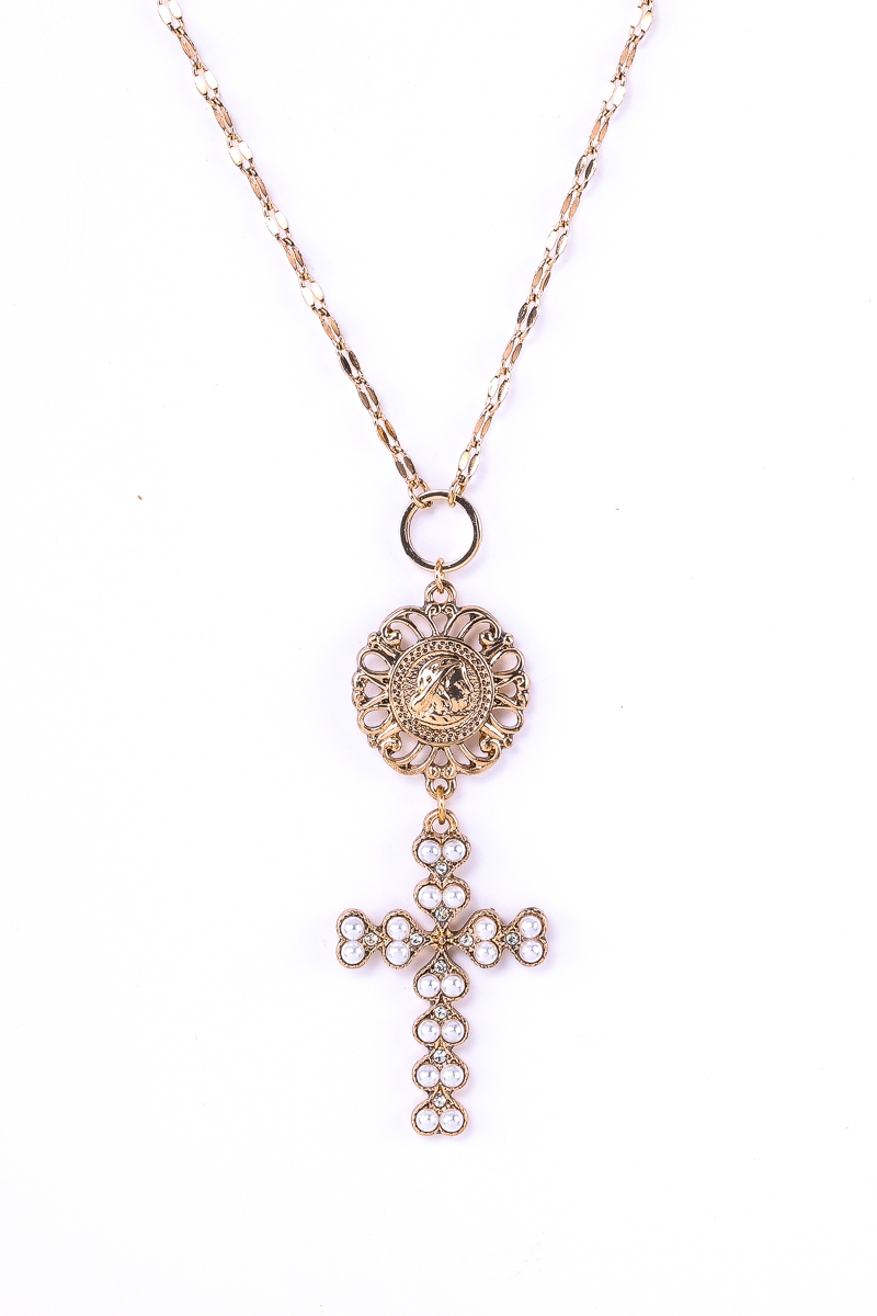 Pearls Embellished Cross Necklace - orangeshine.com