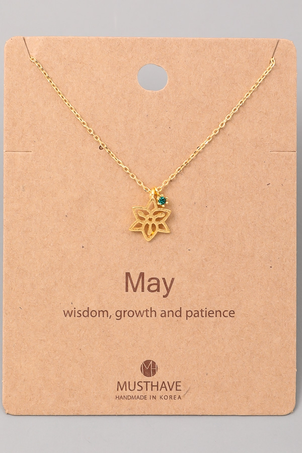 May Birthstone Charm Necklace - orangeshine.com