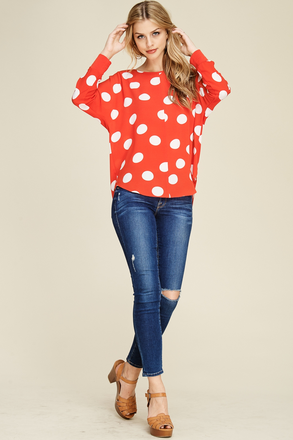 Long Sleeve Round Neck Polka Dot Top - orangeshine.com