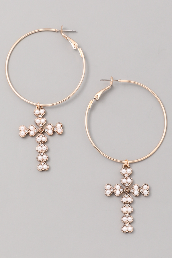 Pearl Prayer Hoop Earrings - orangeshine.com