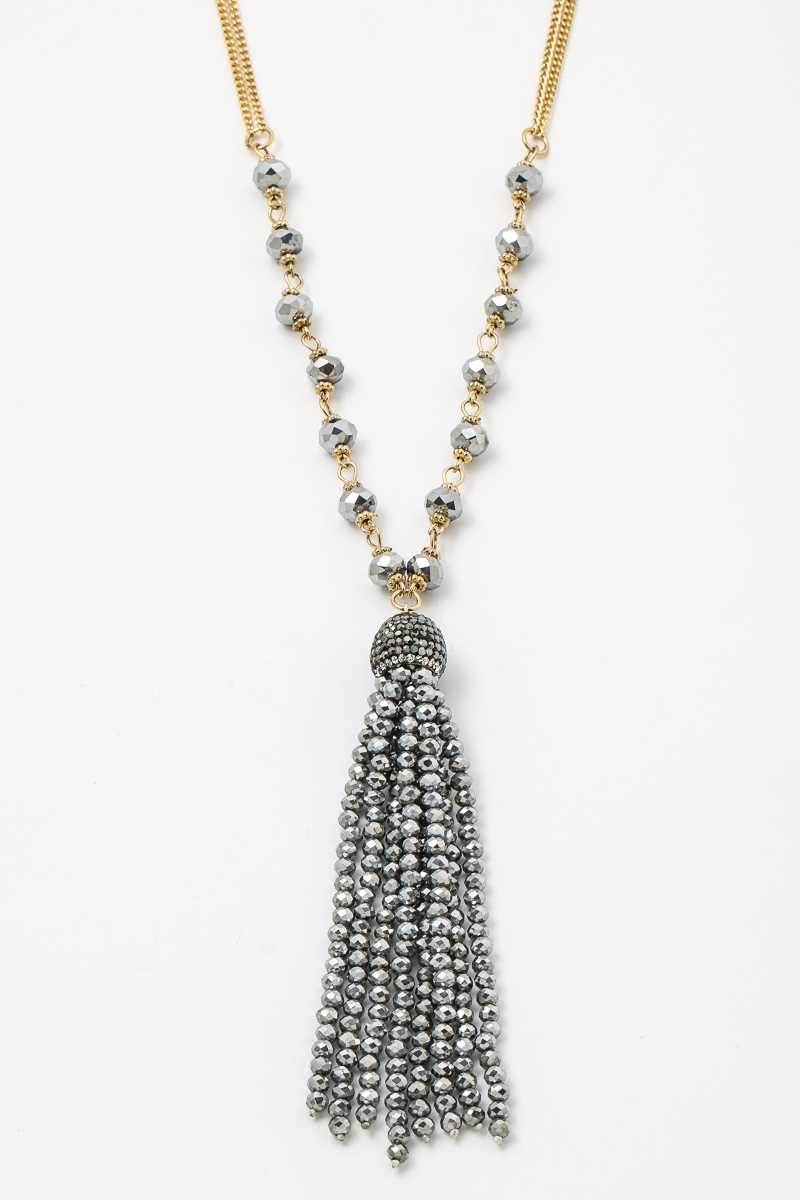 Chic Beaded Tassel Chain Necklace - orangeshine.com