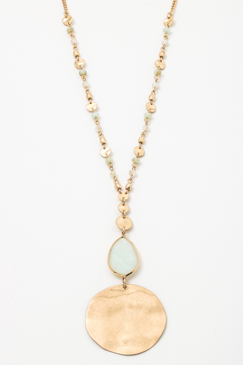 Bead Gemstone Hammered Coin Necklace - orangeshine.com