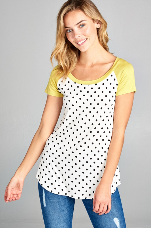 POLKA DOT AND SOLID BASEBALL TOP - orangeshine.com