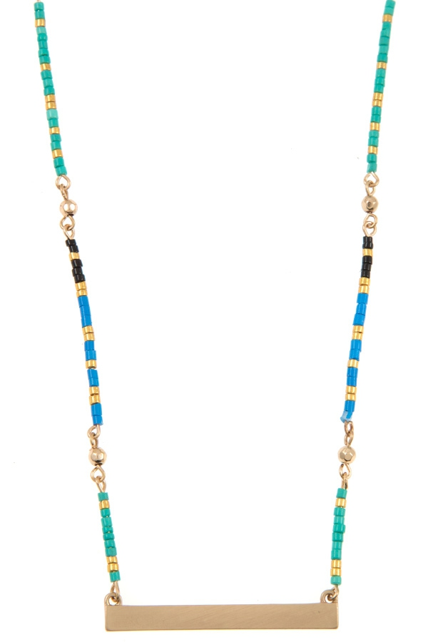 COLORFUL BEAD FLAT BAR PENDANT NECKL - orangeshine.com