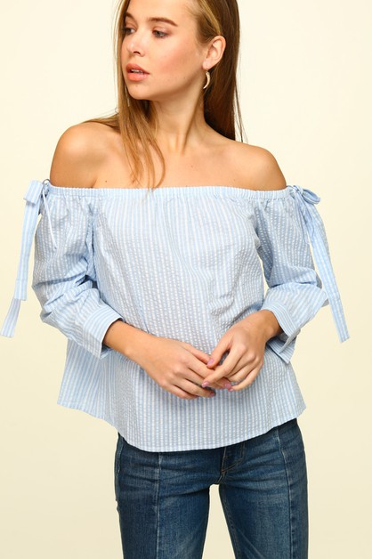 Striped poplin off-the-shoulder top - orangeshine.com