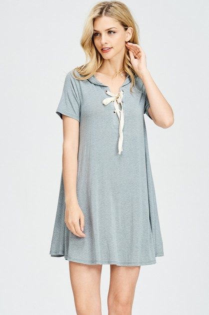 TUNIC LENGTH HOODIE TIE UP DRESS - orangeshine.com