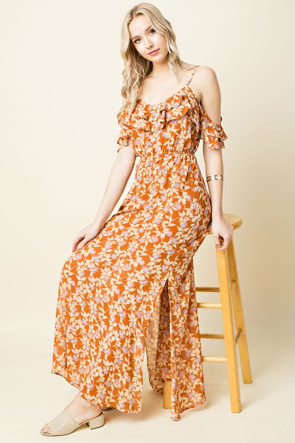 Floral Ruffled Cold Shoulder Maxi - orangeshine.com