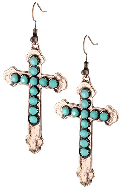 Turquoise Beaded Cross Earrings - orangeshine.com