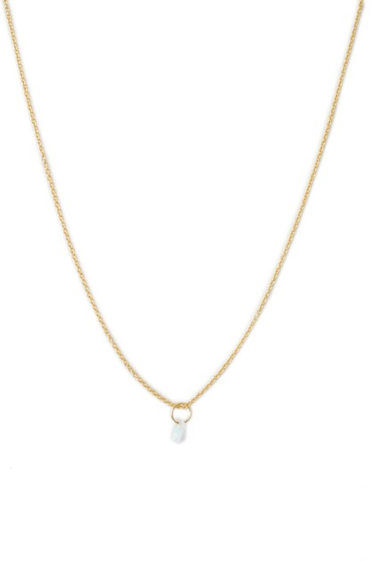 Opal Single Stone Charm Necklace - orangeshine.com