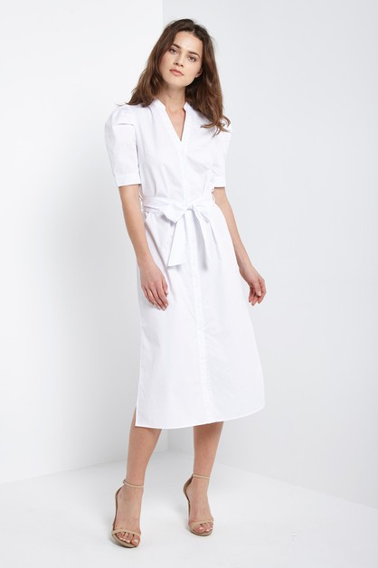 Puff Sleeve Shirt Dress White - orangeshine.com