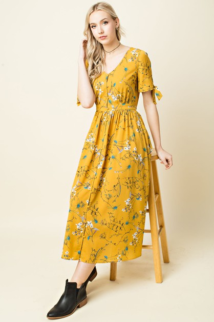 Floral Print Knot Sleeve Midi Dress - orangeshine.com